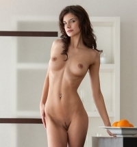 Slim brunette Candice has one amazing tight body