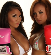 Justene Jaro and Dawn Jaro in bikinis