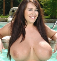 Glamour model Leanne Crow getting her big tits out