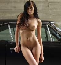 Stunning naked brunette